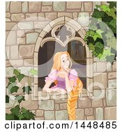 Beautiful Red Haired Blue Eyed Caucasian Woman Rapunzel With Her Hair Hanging Down From A Window