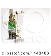Poster, Art Print Of 3d Champagne Bottle And Wind Glass With Ribbons On A Shaded Background
