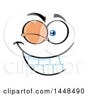 Clipart Of A Winking Face Royalty Free Vector Illustration