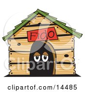 Poster, Art Print Of Dogs Eyes In A Dog House Clipart Illustration