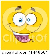 Clipart Of A Happy Face On Yellow Royalty Free Vector Illustration