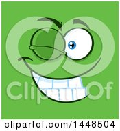 Clipart Of A Winking Face On Green Royalty Free Vector Illustration