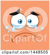 Clipart Of A Sad Crying Face On Orange Royalty Free Vector Illustration