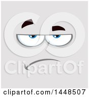 Clipart Of A Bored Or Skeptical Face On Gray Royalty Free Vector Illustration