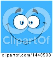 Clipart Of A Happy Face On Blue Royalty Free Vector Illustration