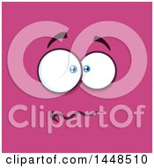 Clipart Of A Worried Face On Pink Royalty Free Vector Illustration
