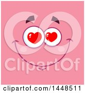Clipart Of A Loving Face With Heart Eyes On Pink Royalty Free Vector Illustration