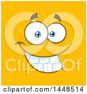 Clipart Of A Grinning Face On Orange Royalty Free Vector Illustration