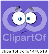 Clipart Of A Worried Face On Purple Royalty Free Vector Illustration