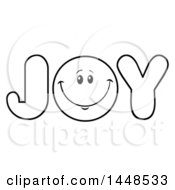 Cartoon Black And White Lineart Happy Smiley Face Emoji In The Word JOY