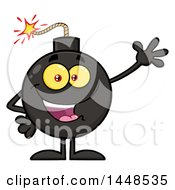 Clipart Of A Cartoon Waving Bomb Mascot Character With Legs And Arms Royalty Free Vector Illustration by Hit Toon