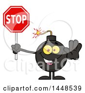 Clipart Of A Cartoon Bomb Mascot Character With Legs And Arms Holding A Stop Sign Royalty Free Vector Illustration