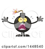Cartoon Screaming Bomb Mascot Character With Legs And Arms