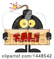 Cartoon Bomb Mascot Character With Legs And Arms Holding A Sale Sign