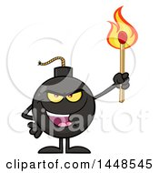 Clipart Of A Cartoon Bomb Mascot Character With Legs And Arms Holding A Match Royalty Free Vector Illustration by Hit Toon
