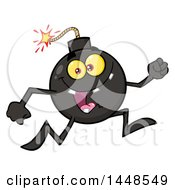 Clipart Of A Cartoon Running Bomb Mascot Character With Legs And Arms Royalty Free Vector Illustration by Hit Toon