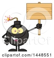 Cartoon Bomb Mascot Character With Legs And Arms Holding Up A Blank Sign