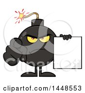 Cartoon Bomb Mascot Character With Legs And Arms Pointing Outwards And Holding A Blank Sign