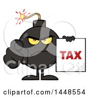 Clipart Of A Cartoon Bomb Mascot Character With Legs And Arms Pointing Outwards And Holding A Tax Sign Royalty Free Vector Illustration by Hit Toon