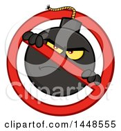 Clipart Of A Cartoon Bomb Mascot Character In A Prohibited Symbol Royalty Free Vector Illustration by Hit Toon