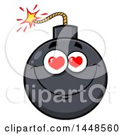 Clipart Of A Cartoon Amorous Bomb Mascot Character Royalty Free Vector Illustration