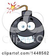 Clipart Of A Cartoon Grinning Bomb Mascot Character Royalty Free Vector Illustration by Hit Toon