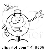 Cartoon Black And White Lineart Waving Bomb Mascot Character With Legs And Arms