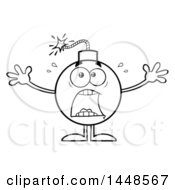 Cartoon Black And White Lineart Screaming Bomb Mascot Character With Legs And Arms