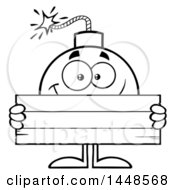 Cartoon Black And White Lineart Bomb Mascot Character With Legs And Arms Holding A Blank Sign