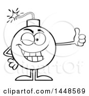 Cartoon Black And White Lineart Bomb Mascot Character With Legs And Arms Giving A Thumb Up