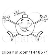 Cartoon Black And White Lineart Happy Jumping Bomb Mascot Character With Legs And Arms
