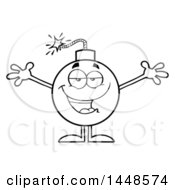 Clipart Of A Cartoon Black And White Lineart Loving Bomb Mascot Character With Legs And Arms Royalty Free Vector Illustration