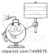 Cartoon Black And White Lineart Bomb Mascot Character With Legs And Arms Holding Up A Blank Sign