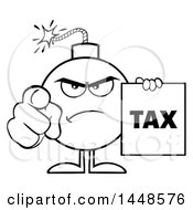 Cartoon Black And White Lineart Bomb Mascot Character With Legs And Arms Pointing Outwards And Holding A Tax Sign