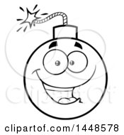 Clipart Of A Cartoon Black And White Lineart Happy Bomb Mascot Character Royalty Free Vector Illustration