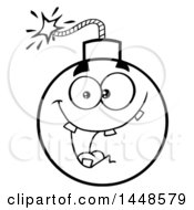 Clipart Of A Cartoon Black And White Lineart Happy Bomb Mascot Character With Teeth Royalty Free Vector Illustration
