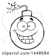 Clipart Of A Cartoon Black And White Lineart Grinning Bomb Mascot Character Royalty Free Vector Illustration