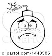Clipart Of A Cartoon Black And White Lineart Crying Bomb Mascot Character Royalty Free Vector Illustration