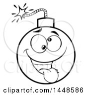 Cartoon Black And White Lineart Goofy Bomb Mascot Character
