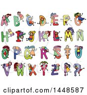 Clipart Of A Doodled Sketch Of Stick Children And Alphabet Letters Royalty Free Vector Illustration
