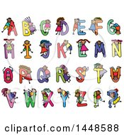 Doodled Sketch Of Stick Children And Colorful Alphabet Letters