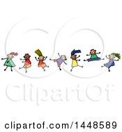 Clipart Of A Doodled Sketch Of Stick Children Dancing Royalty Free Vector Illustration