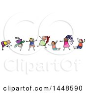 Poster, Art Print Of Doodled Sketch Of Stick Children Dancing