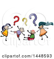 Clipart Of A Doodled Sketch Of Stick Children Asking Questions Royalty Free Vector Illustration