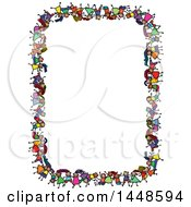 Clipart Of A Border Rame Of Doodled Sketch Of Stick Children Royalty Free Vector Illustration