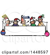 Clipart Of A Doodled Sketch Of Stick Children Wearing Santa Hats Over A Sign Royalty Free Vector Illustration
