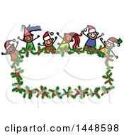 Clipart Of A Doodled Sketch Of Stick Children Wearing Santa Hats And Partying Over A Christmas Holly Frame Royalty Free Vector Illustration