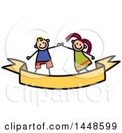 Poster, Art Print Of Doodled Sketch Of Stick Children Dancing Or Holding Hands Over A Ribbon Banner