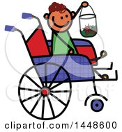 Clipart Of A Doodled Sketch Of A Handicap Stick Boy Holding A Bug House In A Wheelchair Royalty Free Vector Illustration