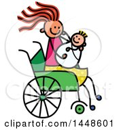 Clipart Of A Doodled Sketch Of A Handicap Stick Girl Holding A Baby Sibling Or Mother Holding Child In A Wheelchair Royalty Free Vector Illustration